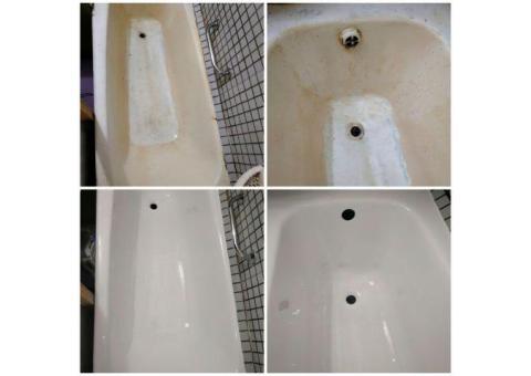 Реставрация ванны жидким акрилом. Работаем с 2005 года. Догвор.